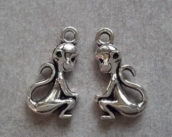 Monkey pendants charms monkey perforated - metal - 20 x 11 mm