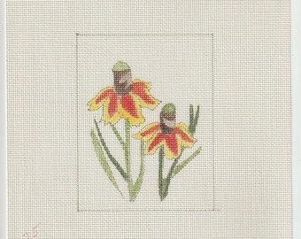 Cone Flower Hand Painted on 18 ct Needlepoint Mono Canvas - The Workshop #251