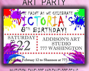 Printable Art Party, Art Party Invitation, Art Birthday Invitation, Printable Invitation, Art Birthday Party