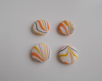 1 set of 4 striped 20 mm flat round pearl beads
