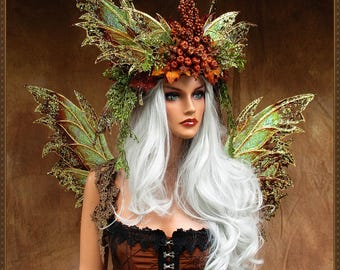 Harvest Queen** Adult Fairy Wings and Crown Sale**Iridescent Gold/Bronze**FREE SHIPPING**Cosplay/Masquerade/Photography/Bridal