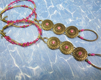 Hot Pink and Brass, Boho, Gypsy Style, Barefoot Sandals