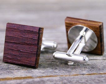Mens Cufflinks Wine Barrel Oak Wood Cufflinks - Wedding Party, Groomsmen, Father of the Bride