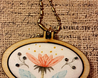 Flower bead Mini Hoop Wide Oval Pendant - Paint by number Necklace Jewelry wood