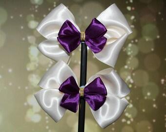 Cream and Purple Bows
