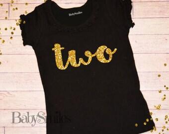 Second Birthday Shirt Two Birthday Shirt Baby Girl Birthday Two Girl Birthday Gold Two Shirt Girl First Birthday Gold Glitter Shirt Gold 119