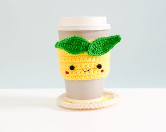 Crochet Cozy Cup with Coaster - The Yellow Lemon / Coffee Cozy, Coffee Warmer, Tea or Coffee Lover Gift, Cup Cozy, Tea Cozy.