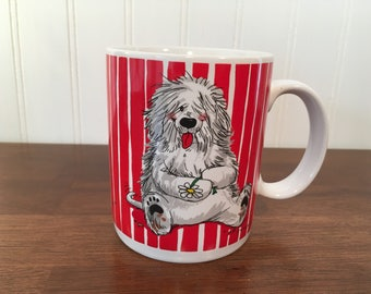 """Vintage SUZY'S ZOO English Sheepdog Kirby Harrington Red White Stripe Mug 4""""H Cup Suzy Spafford Wags and Whiskers 1994 Excellent Condition"""
