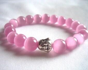 Pink Cats Eye Bracelet, Pink Stretch Bracelet,9mm  Pink Gemstone,  Pink Bracelet, Smiling Buddha Bracelet, FREE SHIPPING