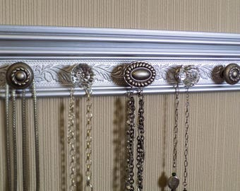 YOU CHOOSE 5, 7 or 9 KNOBS This metallic silver Jewelry organizer.  closet jewelry storage necklace hanger. great gift