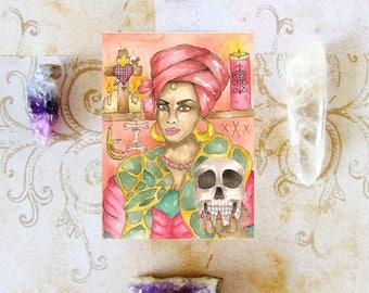 Marie Laveau Voodoo Queen Prayer Card Divine Feminine Hoodoo Fantasy Art Pagan Art Sacred Spiritual Art Magick Witch Santeria Vodou Goddess