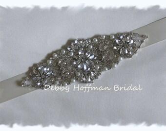 Rhinestone Crystal Pearl Beaded Bridal Headband, Pearl Crystal Headpiece, Wedding Headband, No. 4067HB, Wedding Hair Accessories, Headband