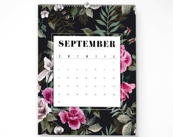 2018 Monthly Wall Calendar, 11x14, Wall Calendar, Watercolor Flower Gifts for Her  (cal0011)