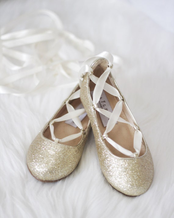 GOLD GLITTER Infant Girl Shoe And Girls Ballerina Shoes Lace