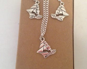 Sail Boat Charm Jewellery Set, Boating Earrings, Ship Charm Pendant Necklace, Nautical Jewellwey Gift Set, Valentines Day, Mothers Day Gift
