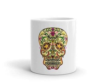 Skull Mug, Day Of The Dead Mug, Dia De los Muertos Mug, Halloween Gift , Gift for her , Gift for him, Sugar Skull Mug