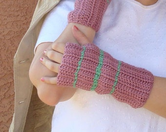 Plum Wine Striped with Light Sage Green Fingerless Gloves - Crochet Fingerless Gloves - Pink Fingerless Gloves - Ready To Ship