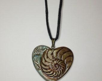 Cold Porcellain Ammonite Embossed Pendant Teal/Bronze