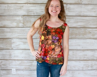 Floral Print Tank Top, Floral Shirt, Floral Tops, Small Tank Tops, Swing Tank Top, Swing Top, Floral Blouse, Sleeveless Tops, Heidi and Seek