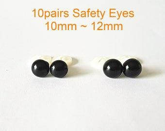 10pairs (20pcs) 10mm 12mm Safety Eyes, Amigurumi Eyes, Doll Eyes, Plastic Eyes, Crochet Eyes, Plush Eyes, Teddy Bear eyes