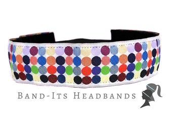 Wide Headband - Thick Headband - Rainbow Headband - Running Headband - Yoga Non Slip Headband - Polka Dots - No Slip Headband - Rainbow Dots