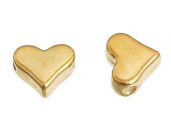 50 Heart Spacer Bead Antique Gold Tone 3D Details - GC1181