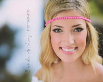 Pink Hippie Headband - Boho Headband - Bohemian Headband - Forehead Headband - Halo Headband - Adult Boho Headband - Halo Headband - Hippie
