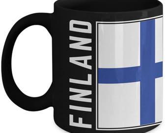 Finland Flag | Finnish Flag | Coffee Mug | Finland Pride | Black | Ceramic