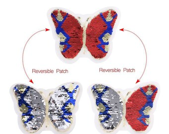 Butterfly applique with sequins, reversible, red, gold, blue sequined, 15 * 20 cm