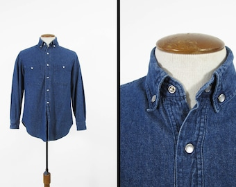 Vintage Denim Shirt Dark Wash Pearl Snap Collar Work Shirt - Men's Small