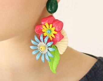 Große klobige Statement-Ohrring, kräftigen bunten Blumen Licht Gewicht Ohrringe, einzigartigen Frauen Oversize Schmuck Etsy