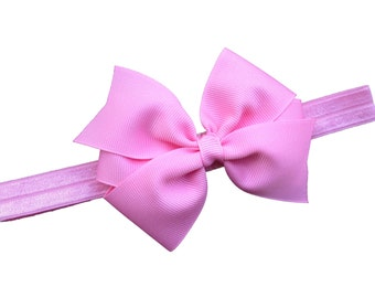 Pink baby headband - pink baby bow headband, pink newborn headband, pink bow headband, baby bow headband, baby bows, baby headbands