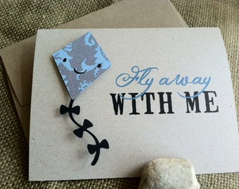 Fly Away WITH ME - Kite - Love - Note Card - Recycled - Eco Friendly