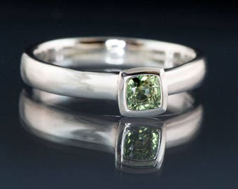 Cushion Green Sapphire Engagement Ring Bezel Sapphire Solitaire in White Gold, Yellow Gold, Rose Gold or Palladium