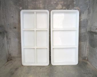 curiosity cabinet, set of 2 dental trays, white milk glass, jewelry tray, instrument tray, desk organizer,collectibles storage,trinket dish
