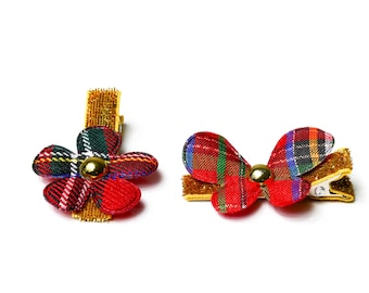 Hair clips for girls - Flowers with butterfly Scottish Tartan Set of 2
