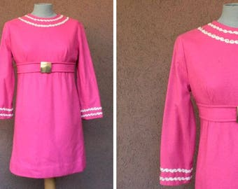 1960's Mini Pink Wool Dress - Size S-M #1132