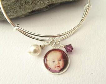 Expandable Photo Charm Bracelet, Personalized Birthstone Bracelet, Charm Bangle