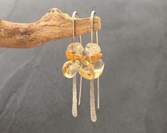 Citrine Hammered Silver Drop earrings