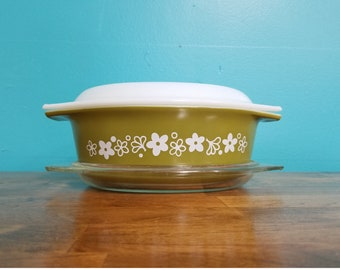 Vintage 2.5 Pyrex Casserole Dish 045 Green Spring Blossom Crazy Daisy With Lid