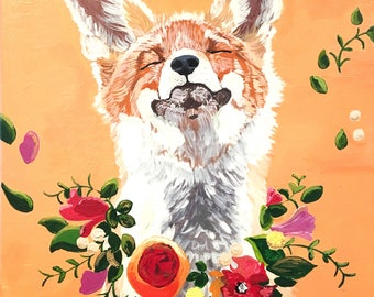 Woodland Fox Print, Flowers, Wall Art Print, Nursery Decor, Orange, 11x14, Willow Branch Studio, Gift for her