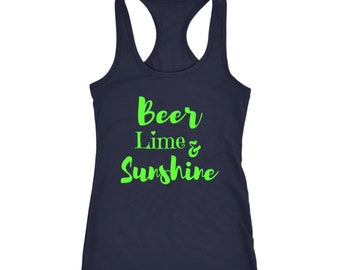 Beer Lime & Sunshine Womens Beer Shirt Summer Tank Top and Cruise Shirts