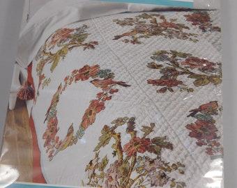 Charleston Chirp Quilt Blocks Stamped Cross Stitch, Birds and Flowers, Bucilla Waverly, Quilting Block, 15 x 15, lap quilt size