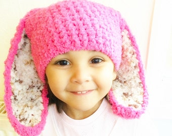 2T to 4T Hot Pink Leopard Bunny Hat, Pink Brown Cream Bunny Ears, Crochet Toddler Girl Bunny Beanie Kids Bunny Photo Prop, Baby Gift