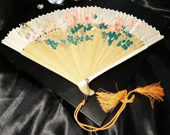 Vintage 1930's silk, and bamboo folding oriental hand fan, floral accordian vintage fan, bone guards