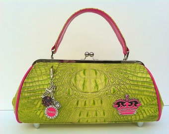 Couture Vintage High Roller inspired Handbag. Handmade in the USA- Croc Cooler