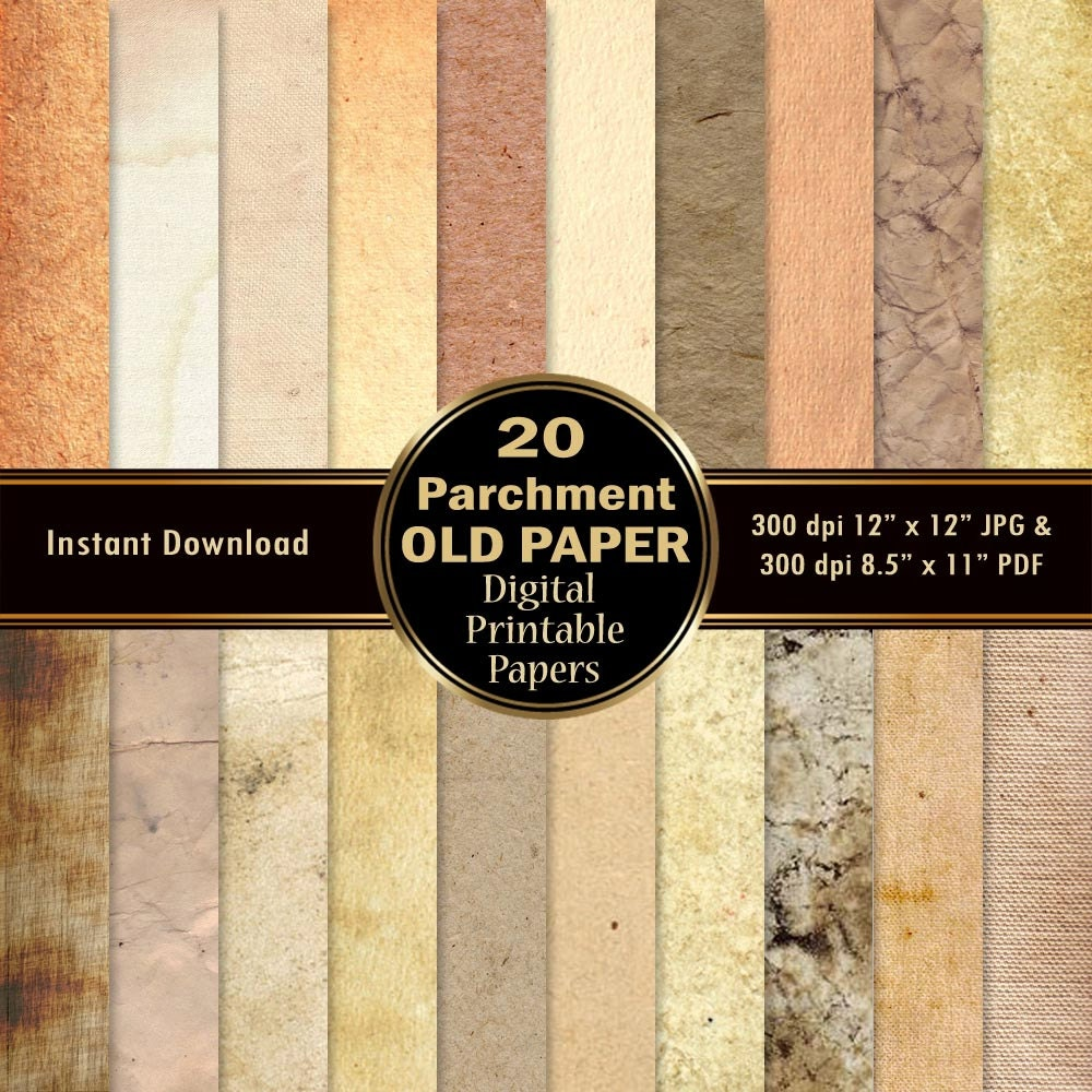 Old Paper Scrapbook Paper 20 Parchment Digital Paper Pack DOWNLOAD ...