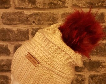 Pompom Slouchy Hat,  Faux Fur Pompom Hat