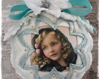 CHRISTMAS ORNAMENT Large Quilted and Beaded Shabby Chic White and Pastel Blue Ornament