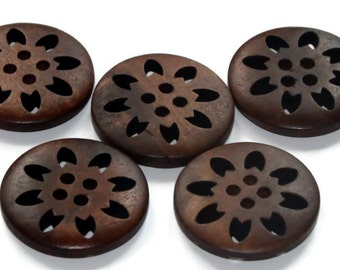 5 Chocolate Wooden Buttons 25mm - Brown Natural - Round Snowflake design - Laser Cut work - Hollow Flower - Pattern Buttons - NW29
